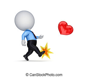 3d small person kicking a red heart.