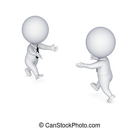 3d small people running to each other.