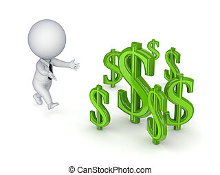 3d small person running to a dollar signs.Isolated on white...