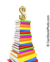 Dollar sign on a large pack of books.