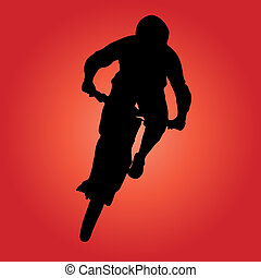 Mountain biker turning silhouette illustration.