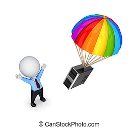 3d small person and colorful parachute.Isolated on white...
