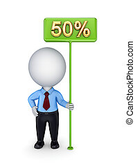 3d small person with a green bunner 50%.