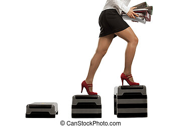 Businesswoman running up with folder documents -...