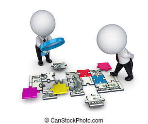 3d people with a loupe and dollar made of puzzles. - 3d...