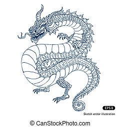 Dragon. Hand drawn vector isolated on white