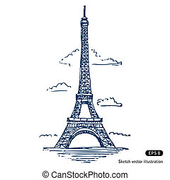 Eiffel tower in Paris. Hand drawn vector isolated on white
