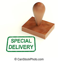 Special Delivery Stamp Shows Secure And Important Shipping