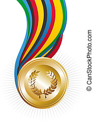 Olympics Games gold medal illustration. Vector file layered...