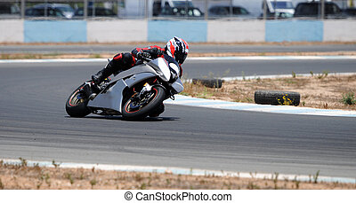 Motorcycle racing - Larnaca, Cyprus - June 17, 2012: Man...