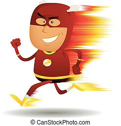 Comic Fast Running Superhero - Illustration of a cartoon...