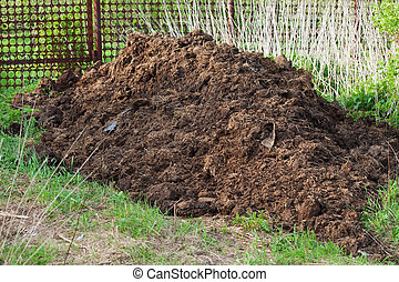heap of manure in the field