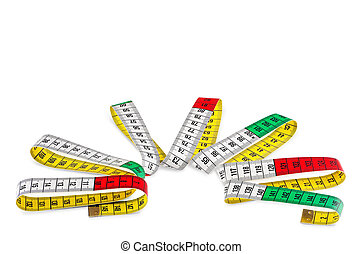 Tape measure - Tailors tape measure over the white...