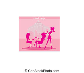 beautiful woman in beauty salon - Vector illustration of the...