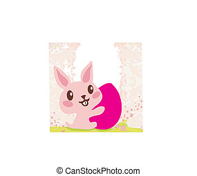 happy Easter bunny carrying egg
