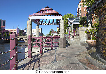 Downtown Reno promenade and park. - Downtown Reno NV.,...