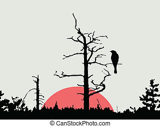 bird on branch amongst wood, vector illustration