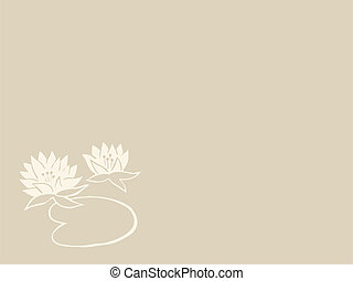 lily silhouette on brown background, vector illustration