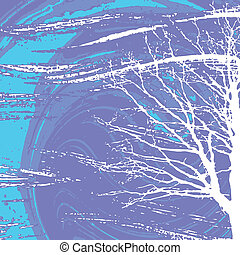 white tree on abstract background, vector illustration