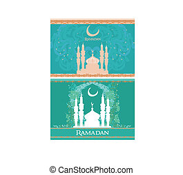 mosque silhouette card set
