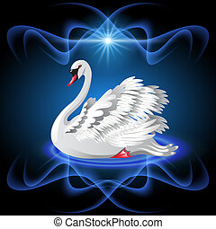 Elegant white swan on blue background  and star