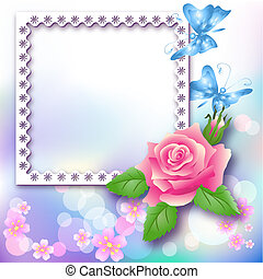 Page layout photo album with rose and butterfly