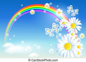 arcobaleno, fiori