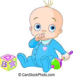 Sweet baby boy -   Baby Boy playing with rattle