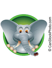 funny elephant cartoon isolated