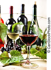 Wine - Glass of red and white wine on the table