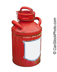 antique gasoline can, isolated