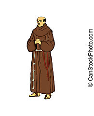 Franciscan friar - Illustration of a Franciscan friar on a...