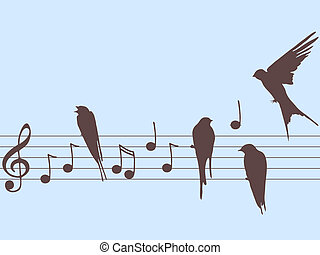 Vector music notes and birds - Vector illustration of music...