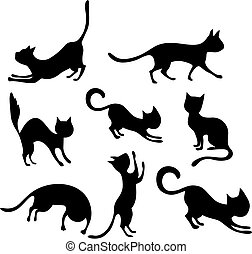 cat set - vector illustration of a cute cat set