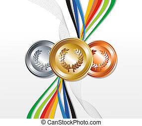 Gold, silver and bronze medal with ribbons background -...