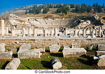 Ephesus Amphitheatre - Amphitheatre in the ruined Turkish...