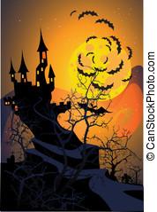 Halloween terrible castle.