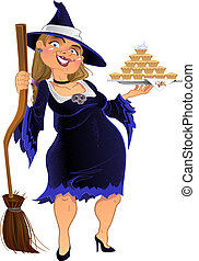 Real dark witch with cake