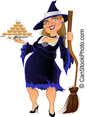 Real old witch with cake - Real old dark witch with cake