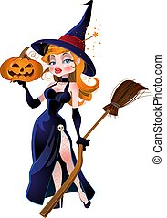 beautiful witch and pumpkin.