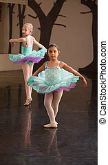 dos, adorable, ballet, estudiantes