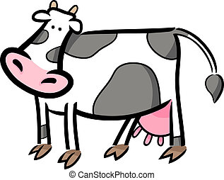 cartoon doodle of farm cow - cartoon doodle illustration of...