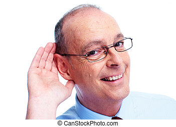 Deaf man Isolated on white background