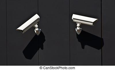 dos, vigilancia, camaras, pared, público, edificio