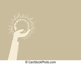 sun in hand on brown background, vector illustration