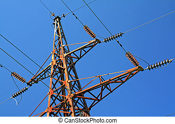 electric pole on blue background