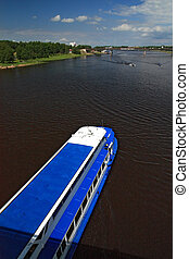 promenade motor ship on big river