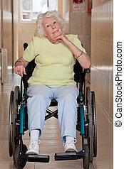 aposentado, mulher, Cadeira rodas