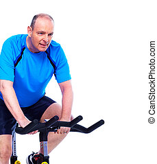 Fitness man - Fitness man on bike Isolated on white...