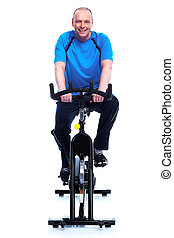 Fitness man. - Fitness man on bike. Isolated on white...